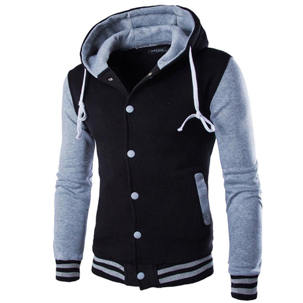Men Fashion Slim Fit Sweatshirts Short Style Matching Color Tops Hoodies gray_M