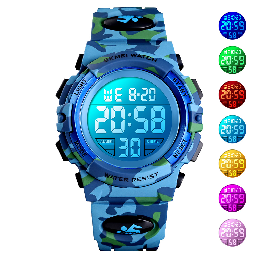 Original SKMEI Kid Digital Sports Watch Colorful LED Date Week EL Light Waterproof Alarm Camouflage Wristwatch Light blue