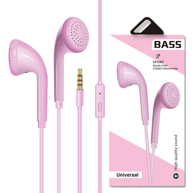 Universal Sport Earphone Wired 3.5mm Crack Earphone Earbud with Microphone Pink boxed