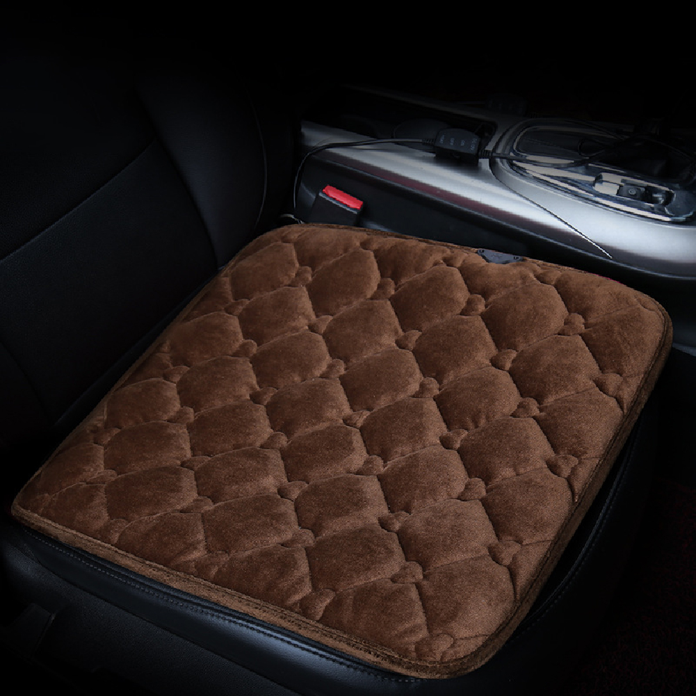 50*53CM 12V Car Seat Heater Plush Electric Heated Seats Interior Accessories Love brown
