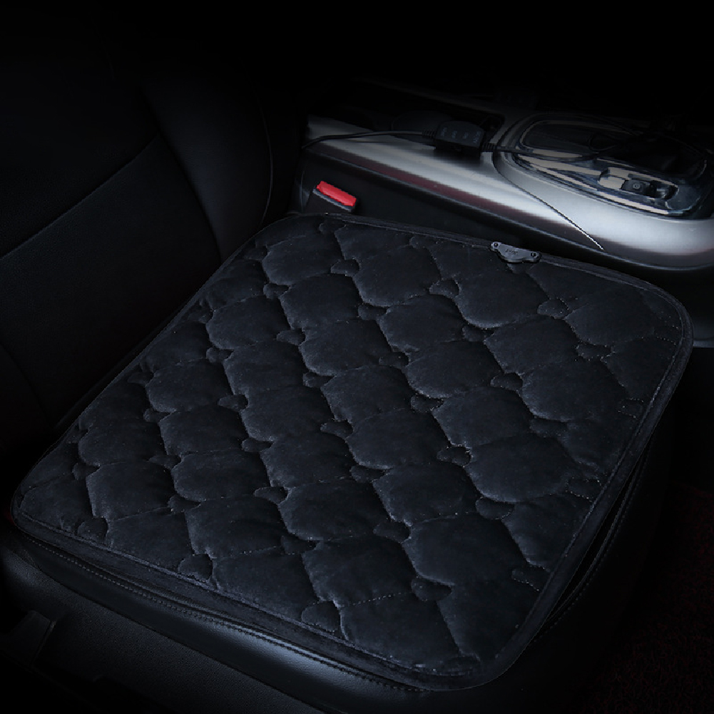 50*53CM 12V Car Seat Heater Plush Electric Heated Seats Interior Accessories Love black