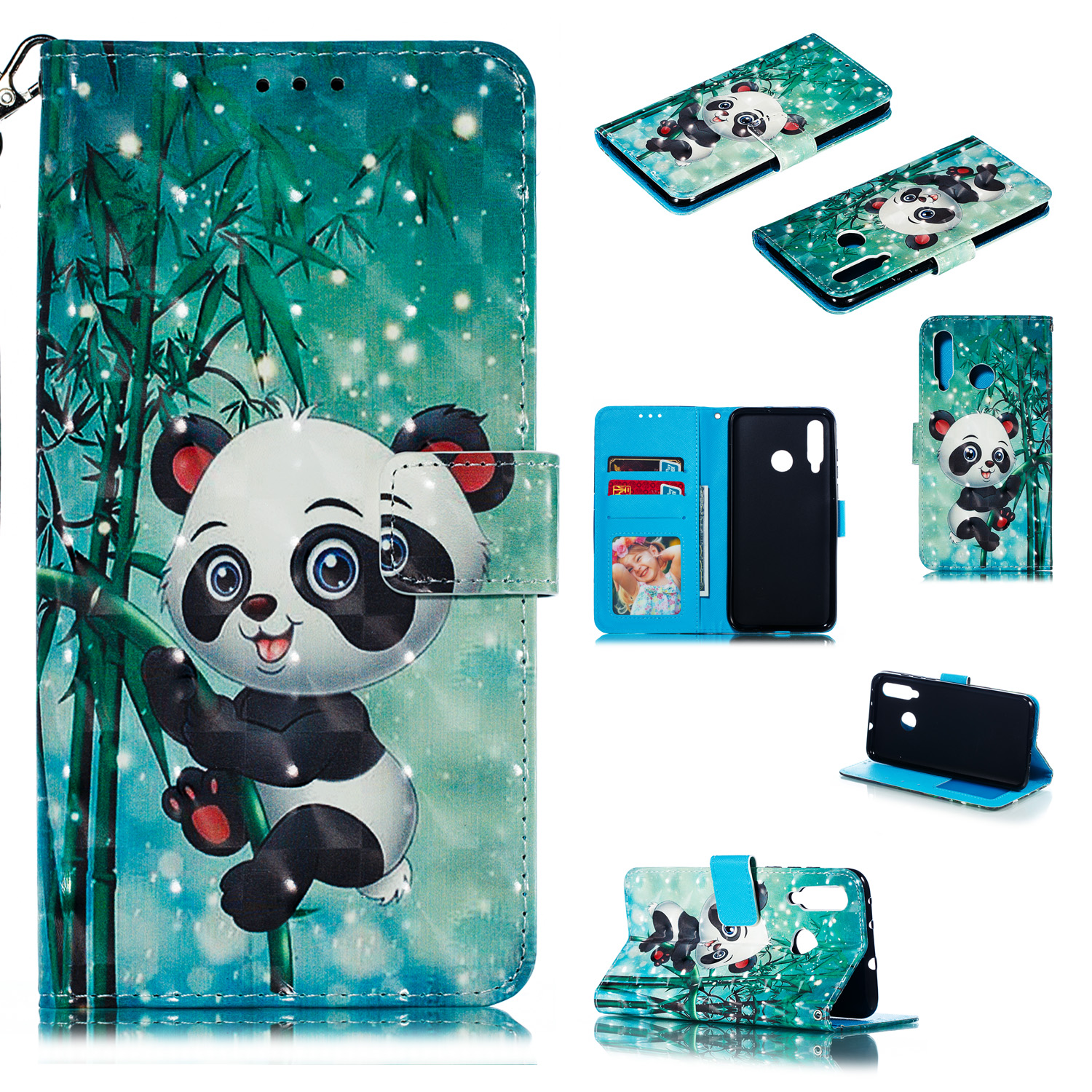 For HUAWEI Nova 4 3D Coloured Painted PU Magnetic Clasp Wallet Stand Phone Case with Lanyard