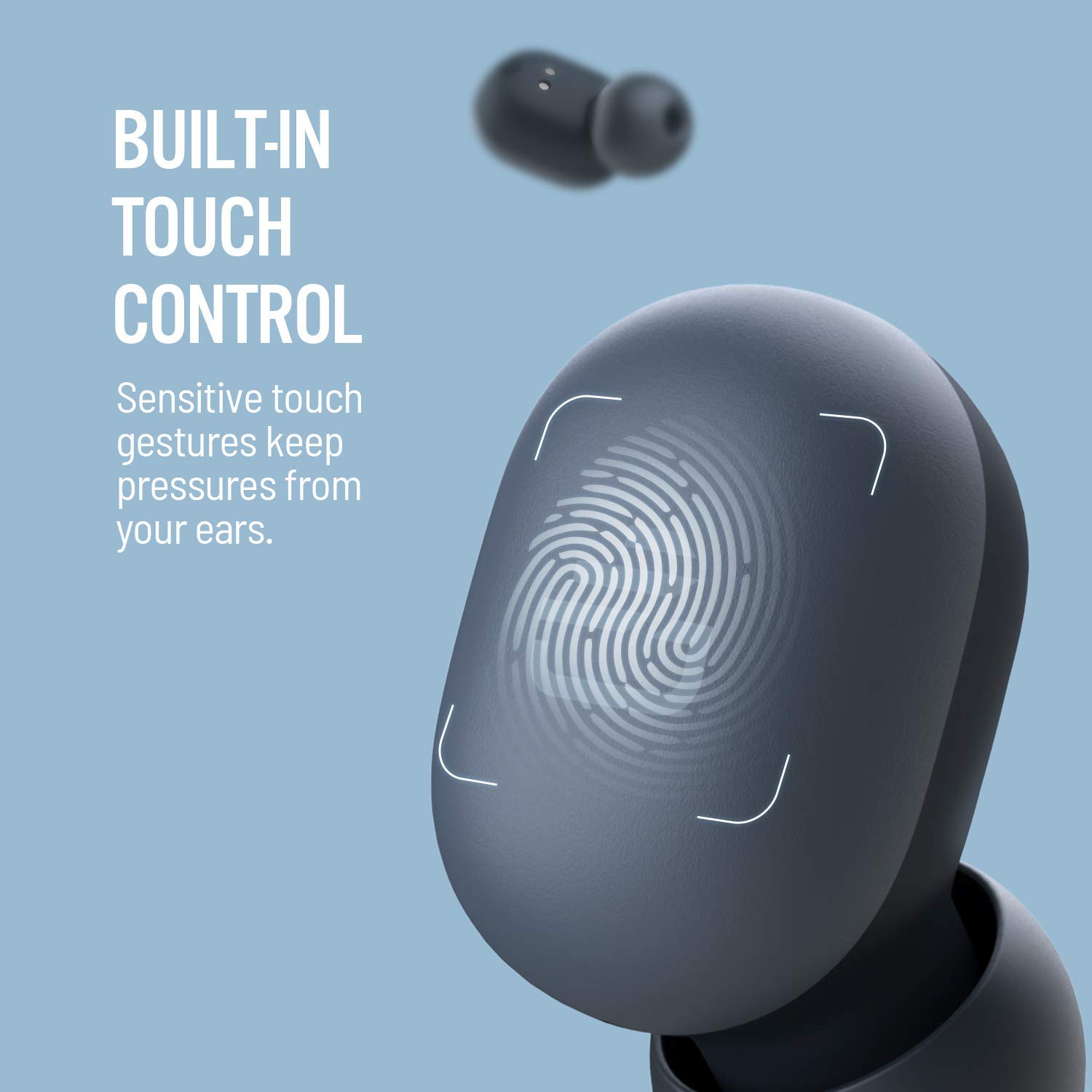 [US Direct] Original DUDIOS True Wireless Earbuds, Free Mini Earphone with 7.2mm Enhanced Drivers(Smart Touch,Easy-Pair,Built-in Mic,15 Hours Playtime) Black