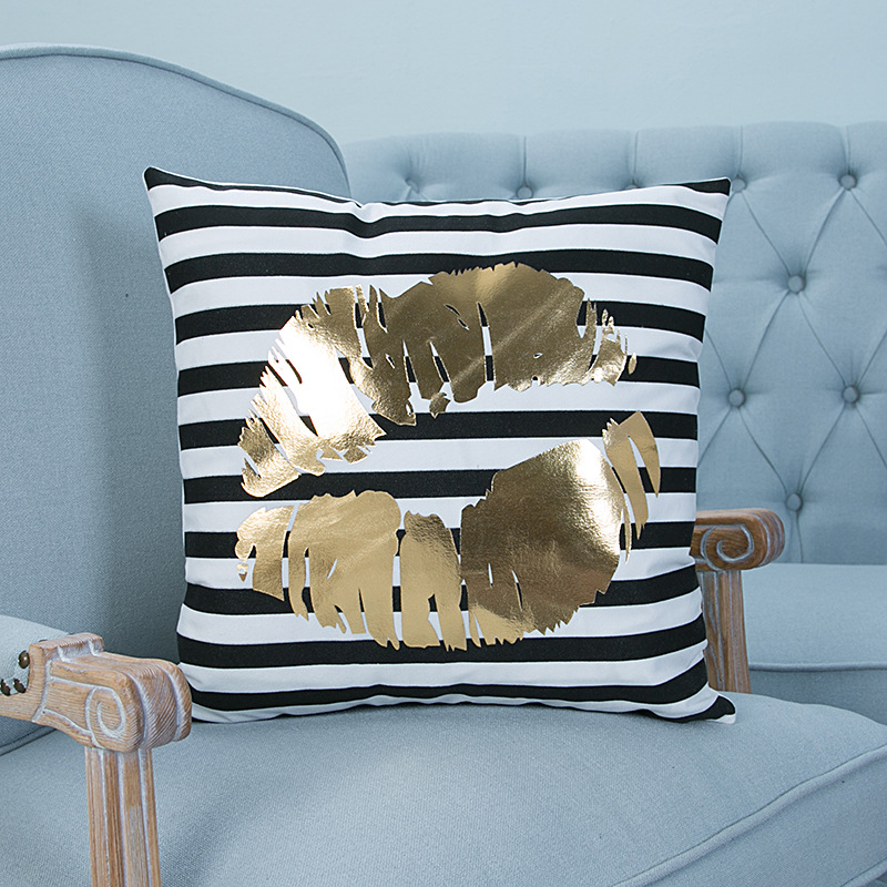 Luxury Bronzing Printed Cotton Linen Decorative Pillow Case Home Sofa Pillowcase Car Back Cushion Cover