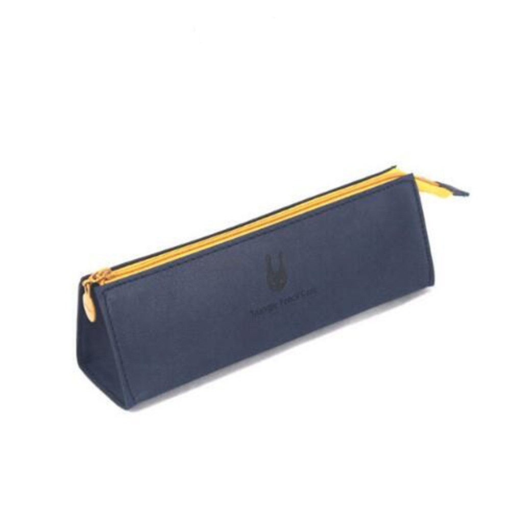 Simple Solid Color Large Capacity Pencil Case for School Stationary Storage Navy blue