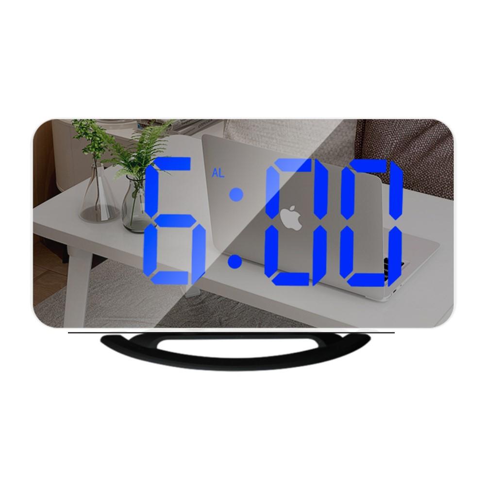 Multifunctional  Mirror  Clock Led Makeup Mirror Digital Alarm Clock For Household Living Room TS-8201-HB (black shell blue light)