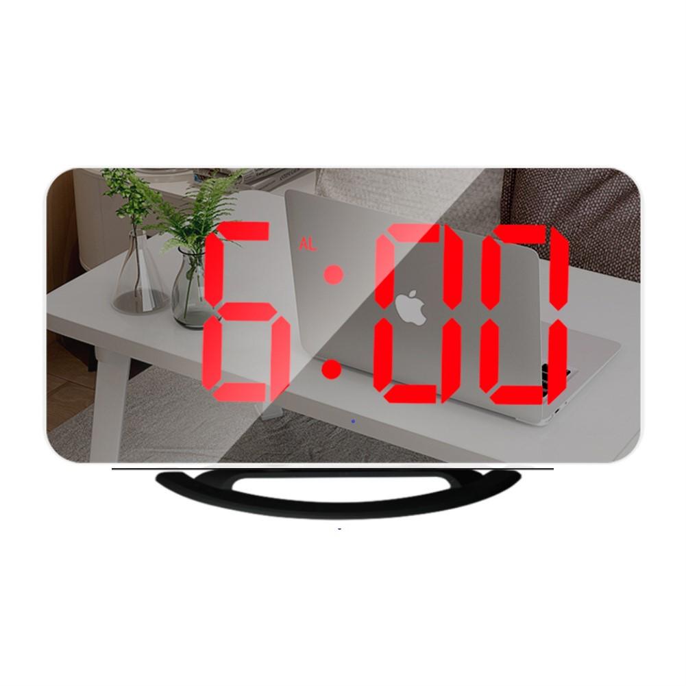 Multifunctional  Mirror  Clock Led Makeup Mirror Digital Alarm Clock For Household Living Room TS-8201-HR (black shell red light)