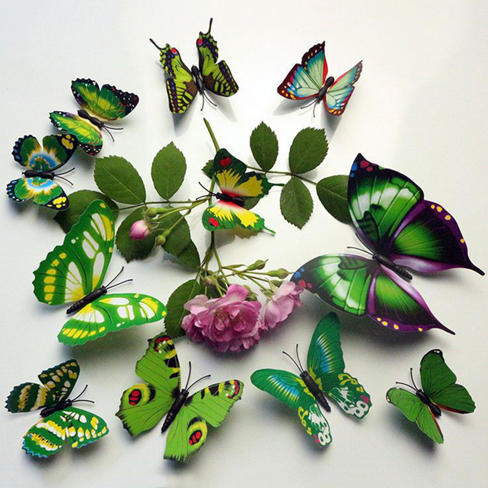 12PCS Simulate 3D Butterfly Wall Sticker with Magnet Elegant Colourful Mural Wall Decoration for Fridge Computer TV Backdrop Wall Living Room Bedroom
