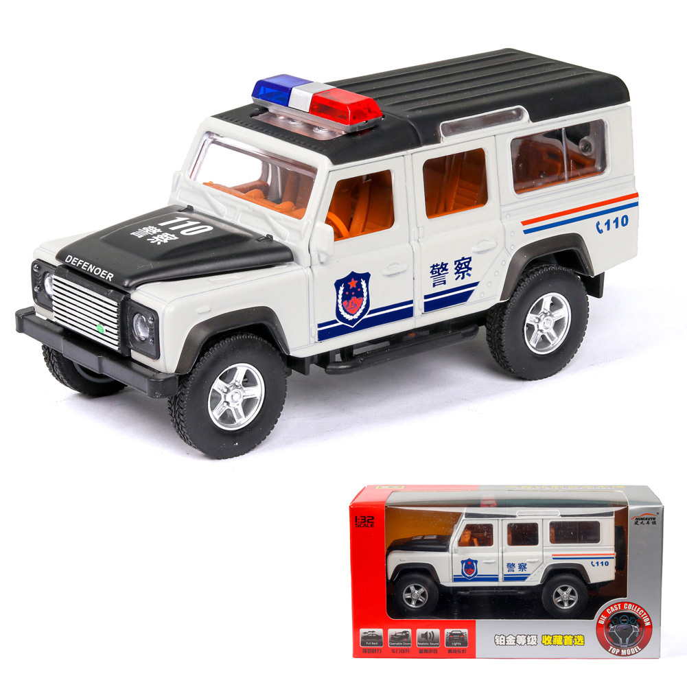 1:32 Simulation Defener Police Car Model Light Sound Effect Doors Open Alloy Pull Back Auto Toy Gift Collection white