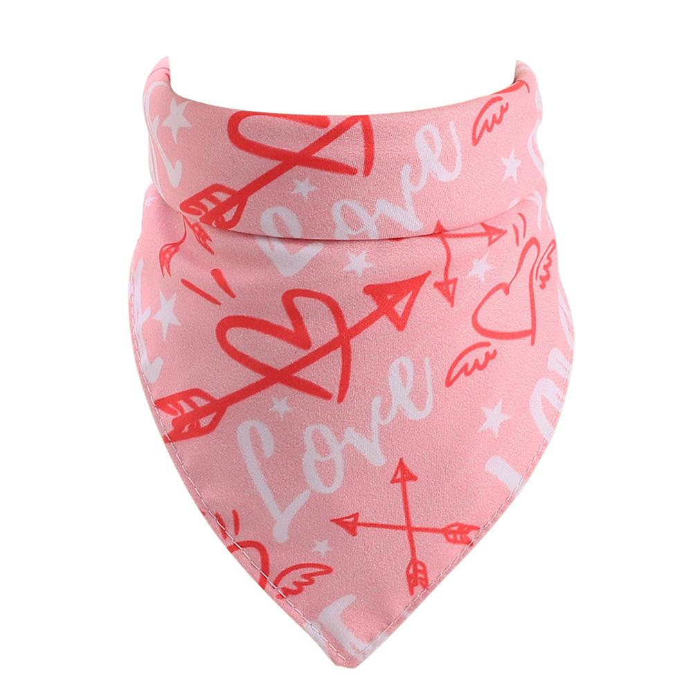 Love Heart Pattern Pet Cat Dog Saliva Towel Triangular Bandage for Valentine's Day Pink