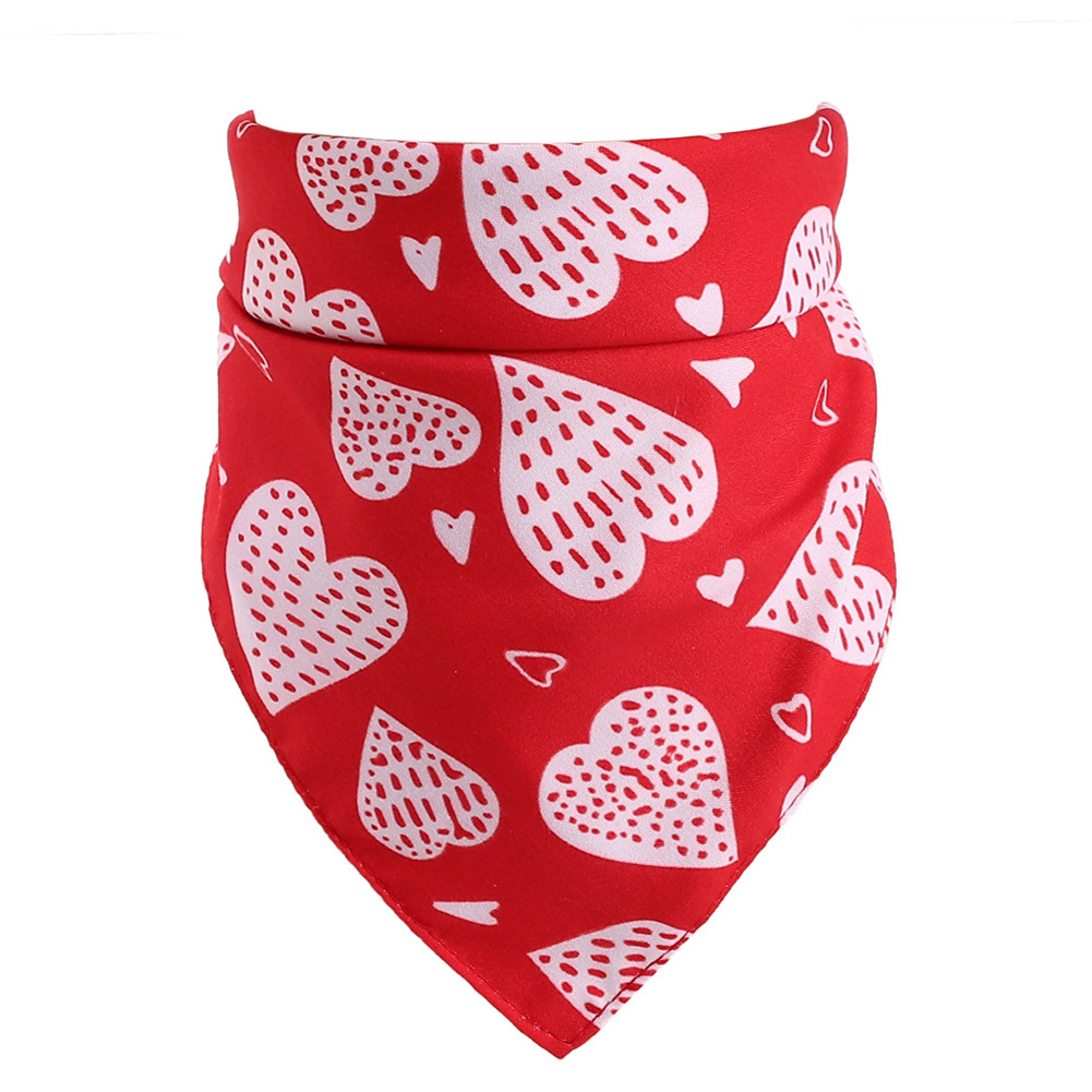 Love Heart Pattern Pet Cat Dog Saliva Towel Triangular Bandage for Valentine's Day red