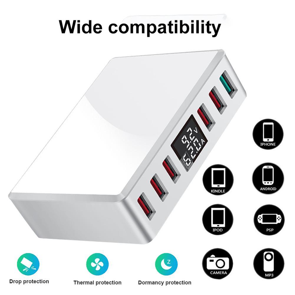 Travel Charger 6-USB Port Digital Display Extended Socket QC 3.0 Fast Charge Station Multi-Port USB Charging Plug UK Plug