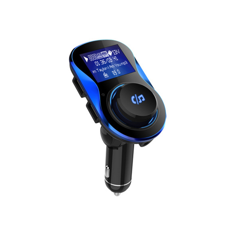 Vehicle Car MP3 Bluetooth Player FM Transmitter Dual USB Car Charger Bluetooth Hands-free Royal blue