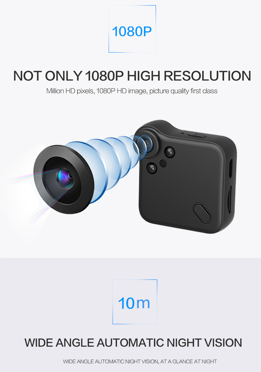 Wearable mini WiFi camera -1080P, night vision, motion detection, CMOS sensor, application support,64GB SD cardslot, 140 degrees