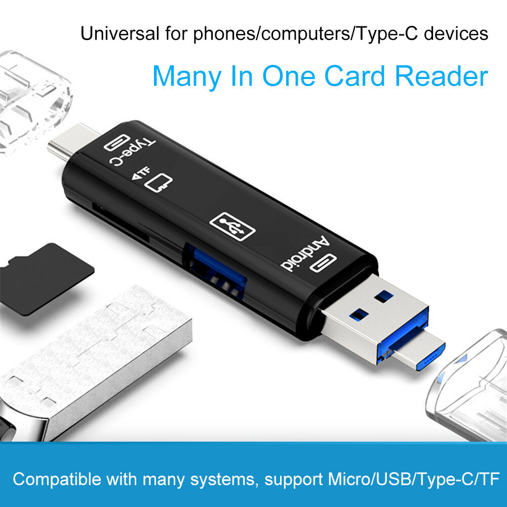 TYPE-C to TF USB2.0 Multifunction Card Reader USB OTG type-c All in One Hub Extension white