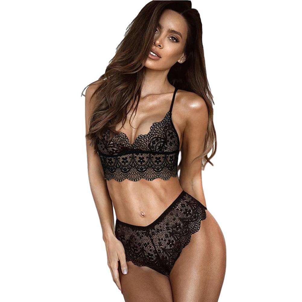 Women's Underwear Suits Sexy Breathable Lace Perspective Bra + Underpants black_L