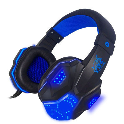 Headset Earphone Headphone with Microphone Control for Desktop Computer Gaming Laptops black and blue light version