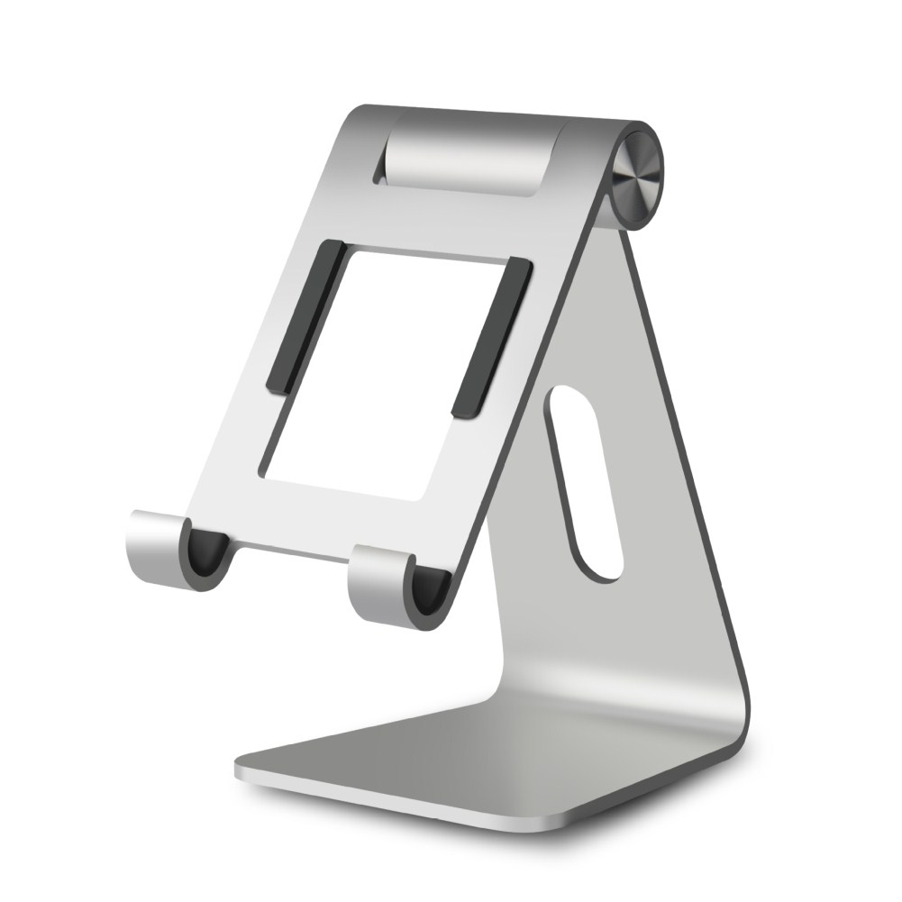 Aluminum Alloy Base Mobile Phone Ipad Table Holder Easy to Carry Silver