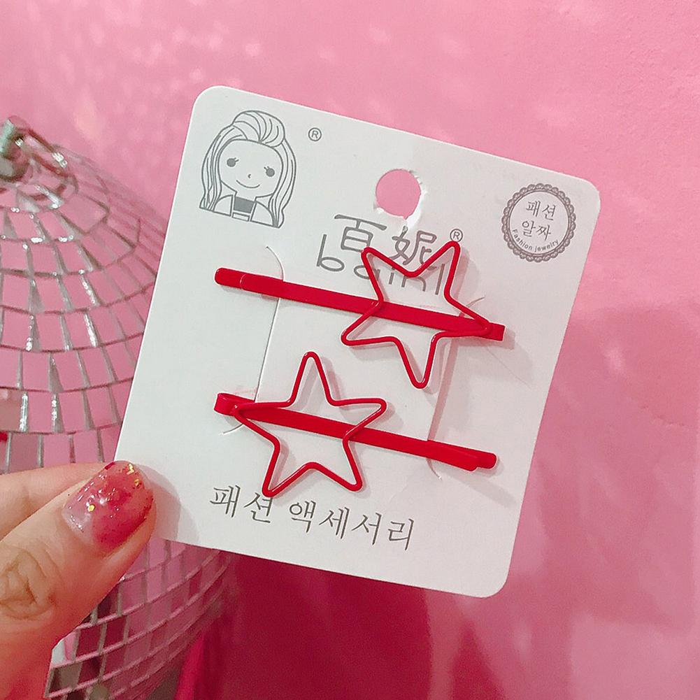 2 Pcs Korean Style Cute Women Grils Heart-shaped Pentagram Shaped Hair Clip Hair Decoration 12#
