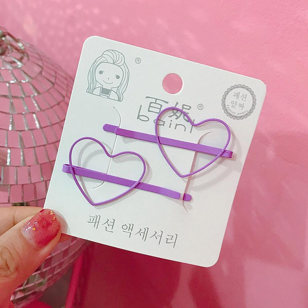 2 Pcs Korean Style Cute Women Grils Heart-shaped Pentagram Shaped Hair Clip Hair Decoration 3#