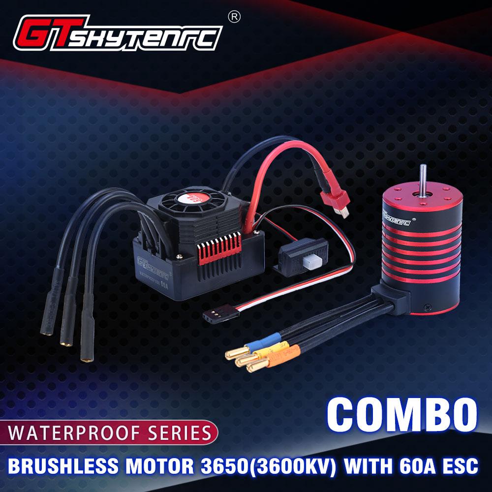 GTSKYTENRC Waterproof Set 3670 2050KV 2650KV 2850KV Brushless Motor w/Heat Sink 120A ESC for 1/10 1/8 RC Car 2050KV+120A