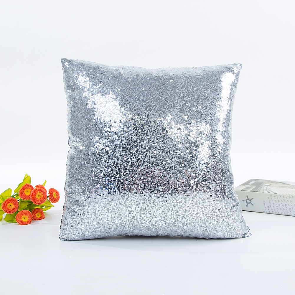 Fashion Solid Color Sequins Throw Pillow Cover for Wedding Supplies Silver_40*40cm