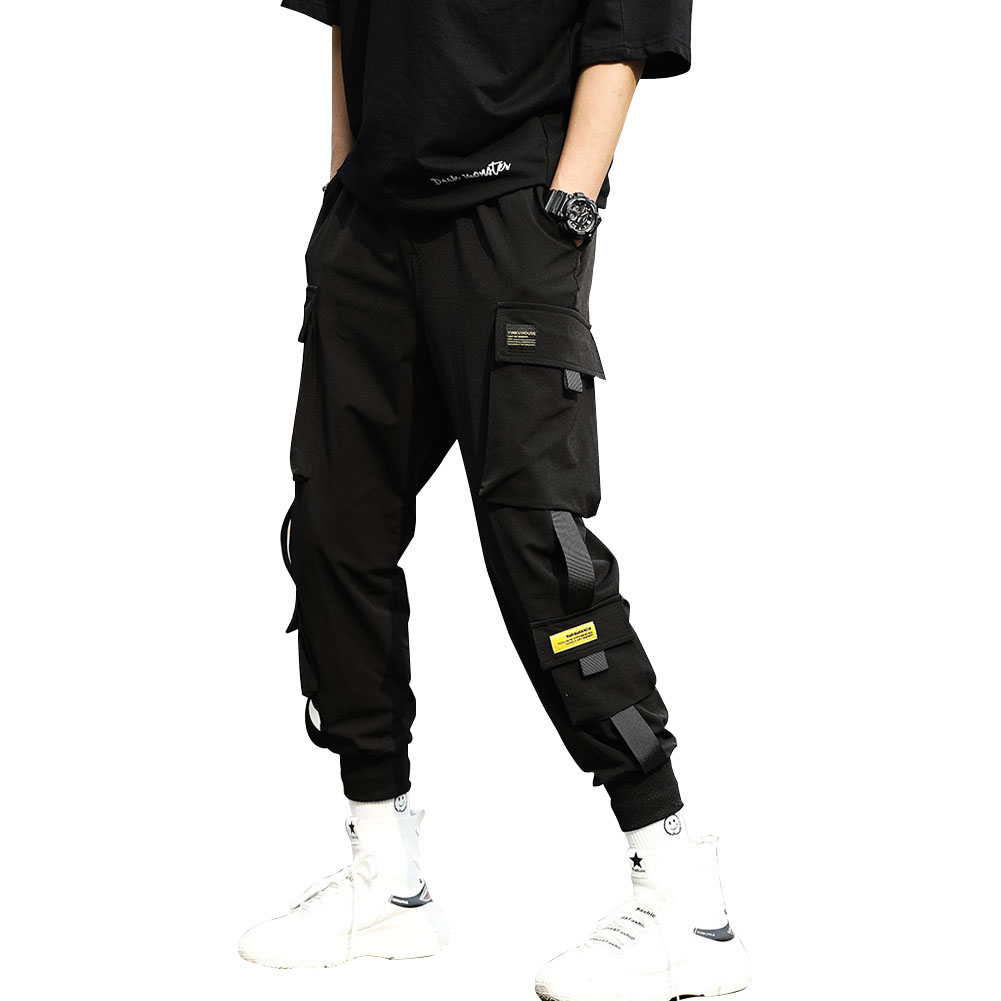 Men Cargo Harem Pants Fashion Ribbons Multi Pockets Solid Color Loose Casual Sports Trousers  black_M