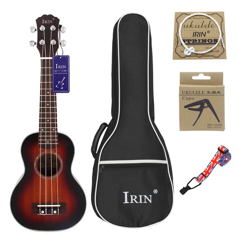 21inch Ukulele Concert 4 Strings Musical Instruments 15 Frets Spruce Wood Hawaiian Small Guitar Free Case&Strings Sunset color