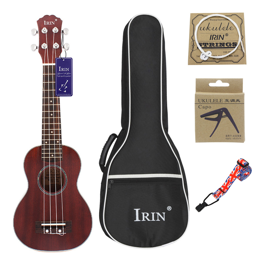 21inch Ukulele Concert 4 Strings Musical Instruments 15 Frets Spruce Wood Hawaiian Small Guitar Free Case&Strings Brown