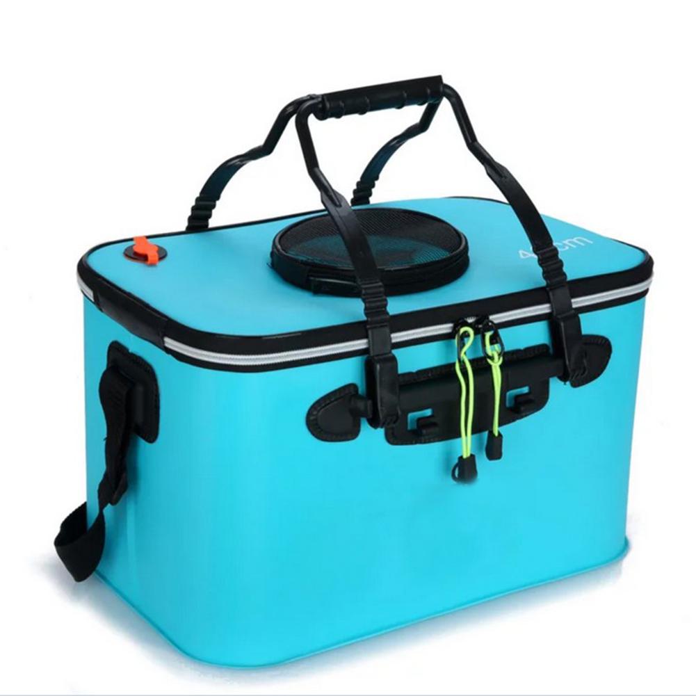 Portable EVA Folding Bucket Water Tank Fish Storage Box for Live Fish Blue 40cm (with strap )