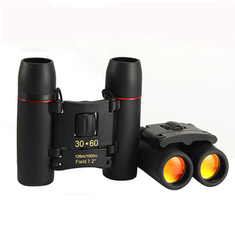 Outdoor 30x60 Mini High-Definition Night Vision Zoom Field Glasses Handhold Telescopes Powerful Binoculars Black Red film