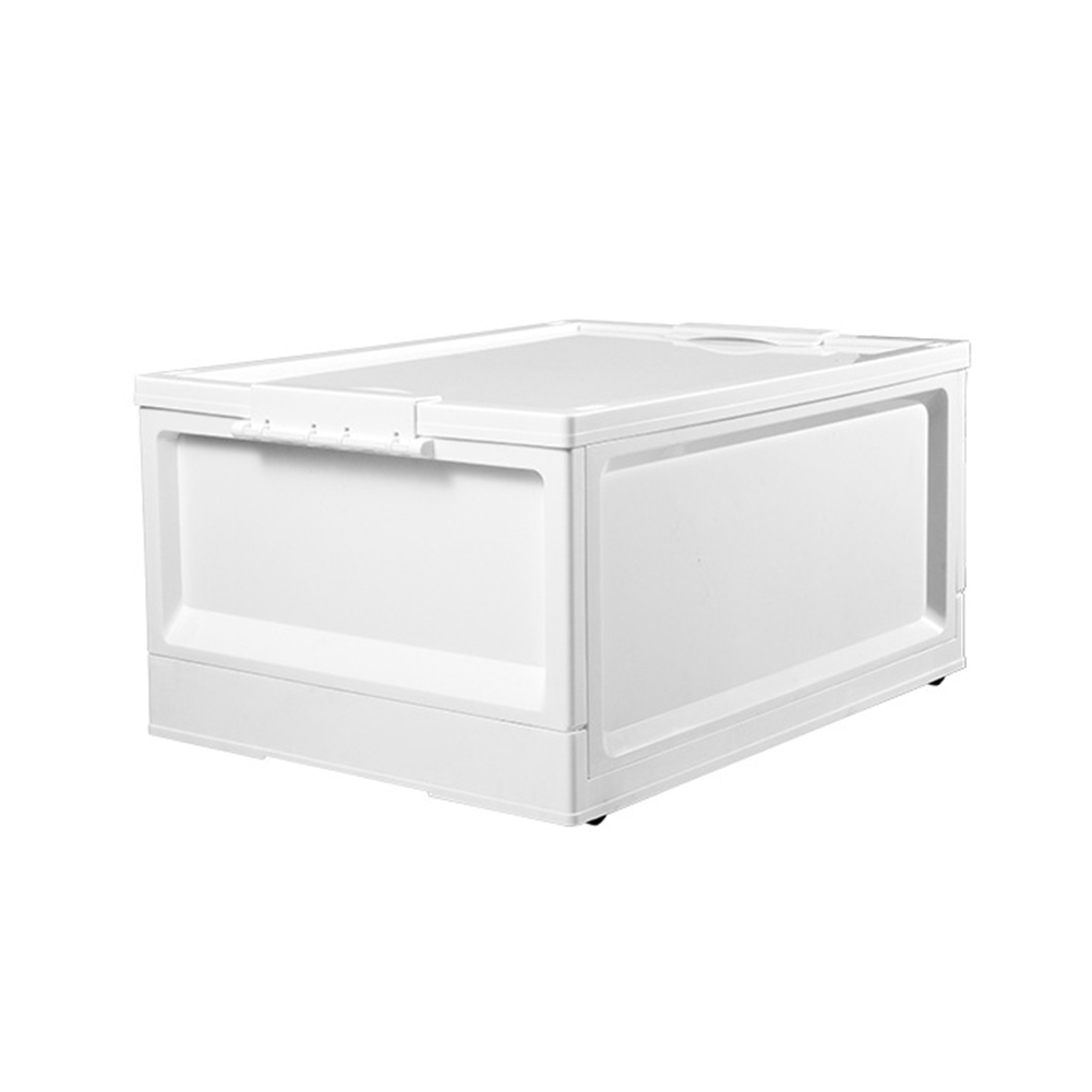 Folding Storage Box with Cover for Bedroom Wardrobe Living Room Organize white