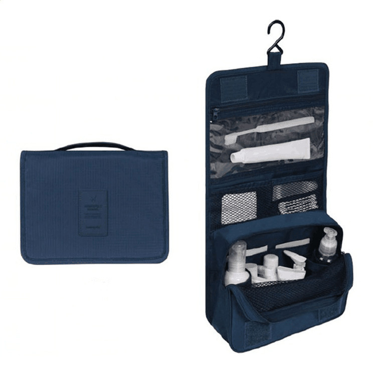 Large Capacity Bathroom Cosmetic Bag with Hanging Hook for Travel Storage Navy (hook)