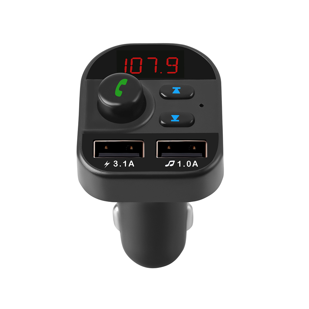 Car MP3 Player FM Transmitter Bluetooth Hands-free Phone Card Fast Charge Dual USB Photo Color