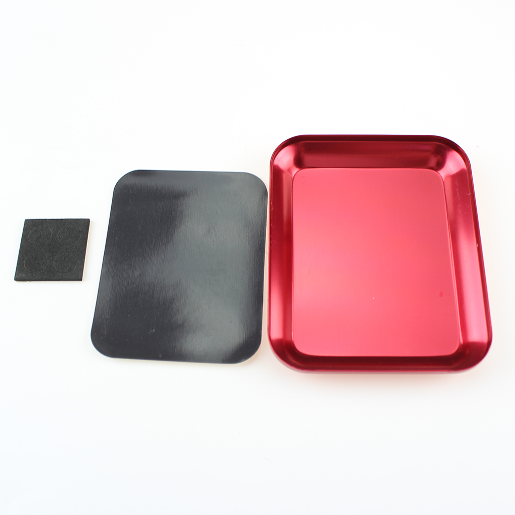 Magnetic Screw Tray Plate Aluminium Alloy Screw Storage Tray for RC Car Truck RC Model Electronics Repair Hand Tool red