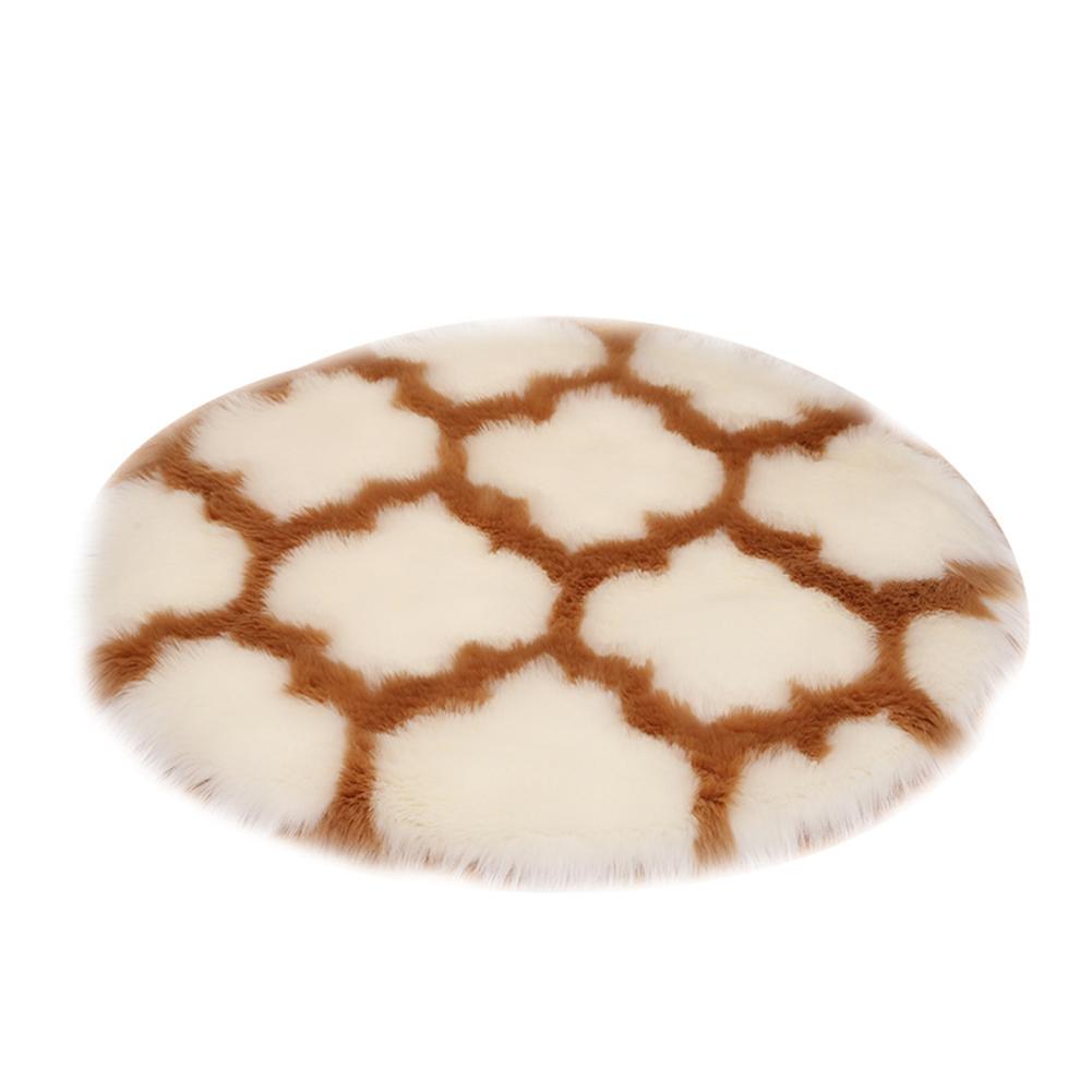 Fuzzy Rug Area  Rug Round Floor Mat Carpet For Bedroom Living Room Home Decor White lantern camel edge_60cm in diameter