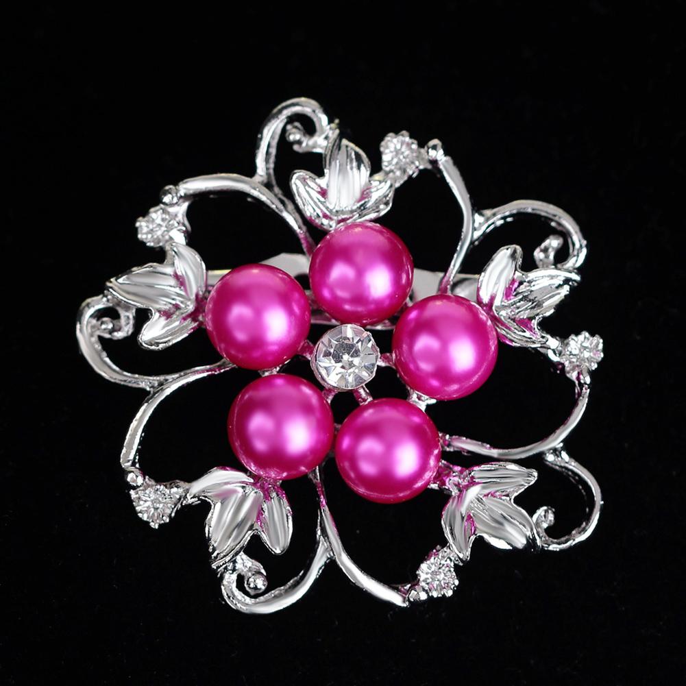 Fashion Alloy Crystal Pearl Bead Inlay Brooch Red Aa026-C