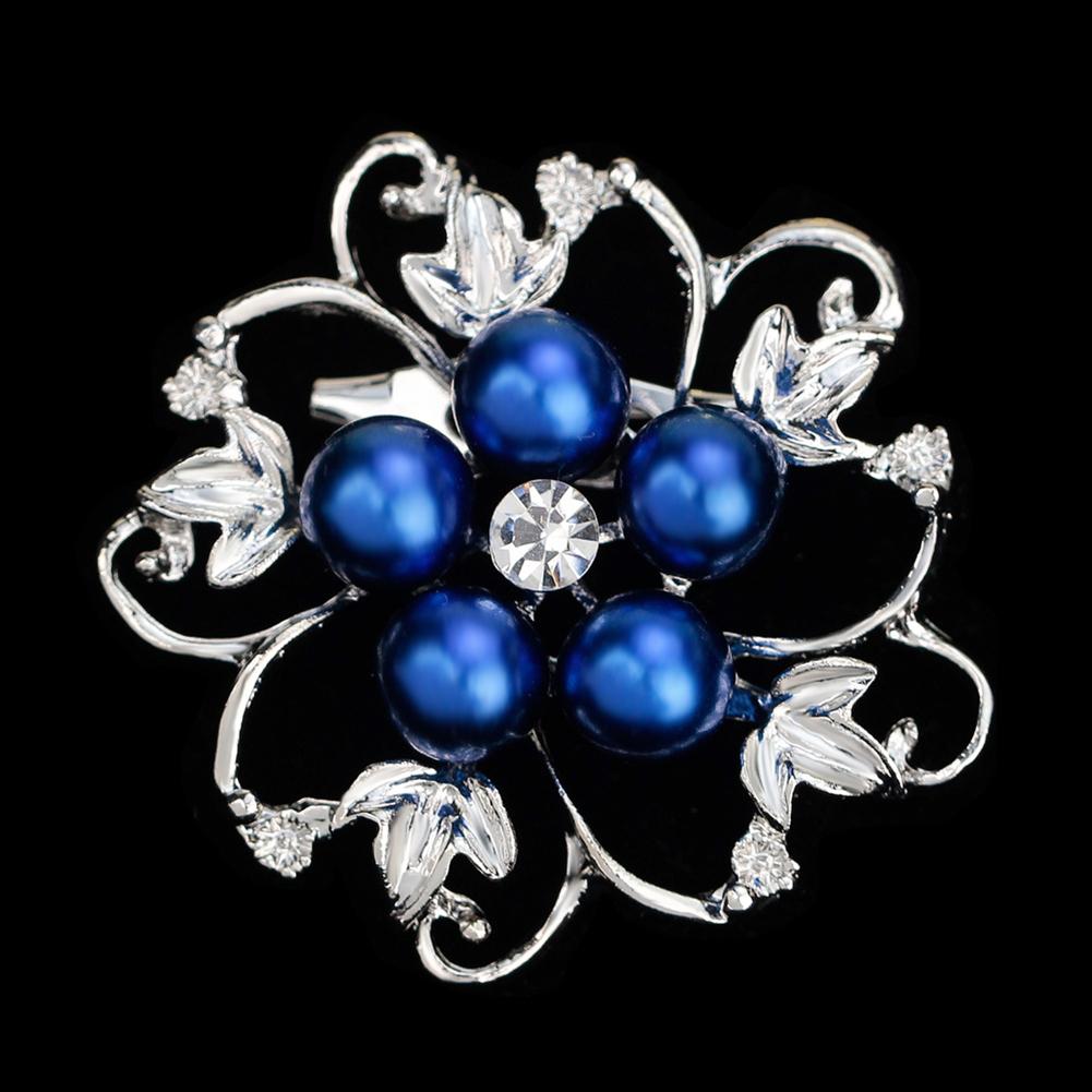 Fashion Alloy Crystal Pearl Bead Inlay Brooch Sapphire Blue AA074-C