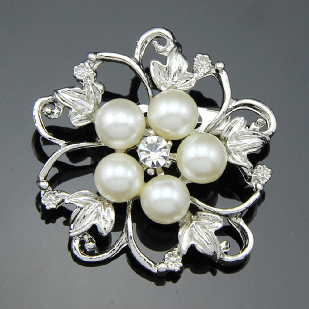 Fashion Alloy Crystal Pearl Bead Inlay Brooch White Aa026-A