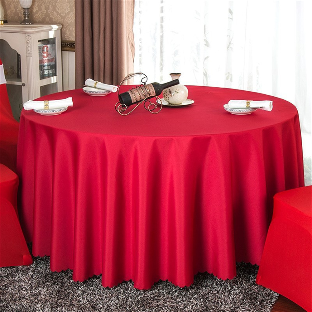 140cm Solid Table Cloth Round Satin Tablecloth Wedding Party Restaurant Home Table Cover  Red_Round 140cm