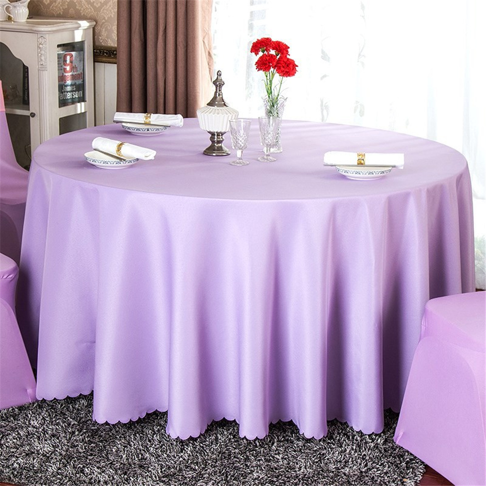 140cm Solid Table Cloth Round Satin Tablecloth Wedding Party Restaurant Home Table Cover  Light purple_Round 140cm