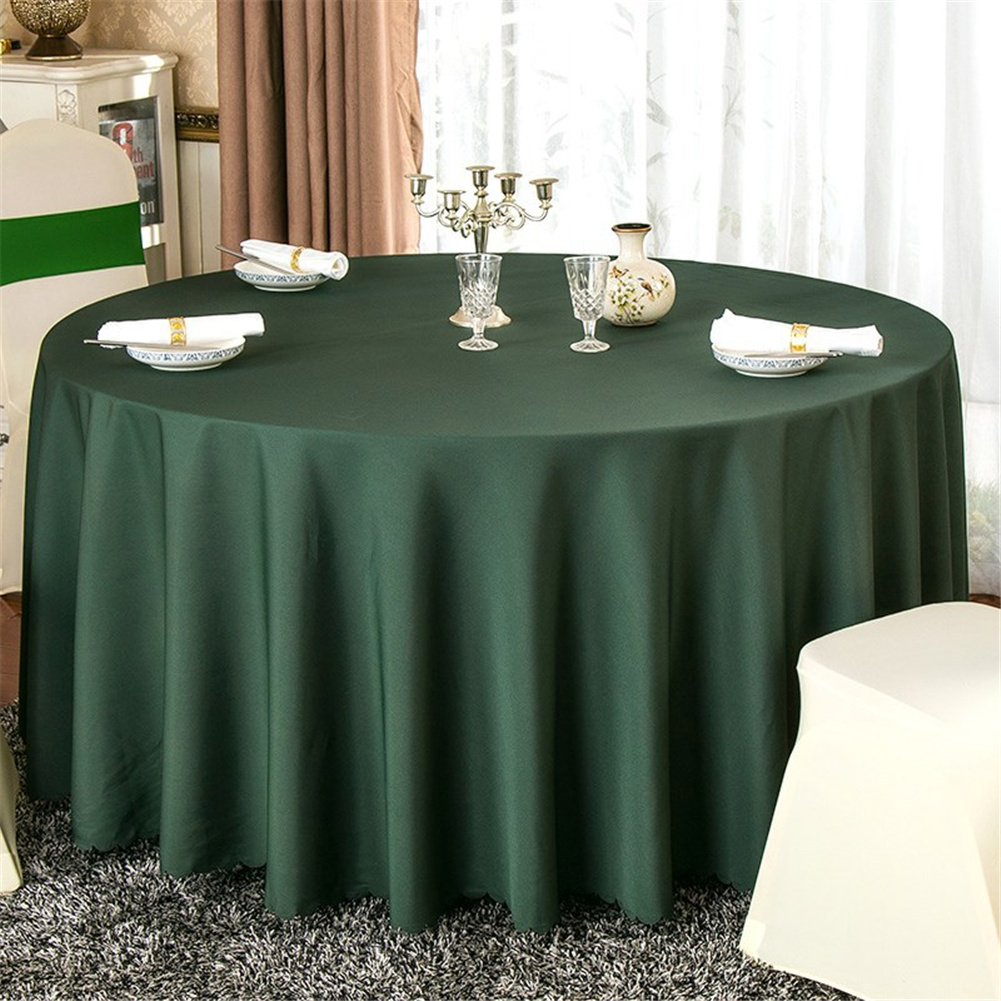 140cm Solid Table Cloth Round Satin Tablecloth Wedding Party Restaurant Home Table Cover  Dark green_Round 140cm