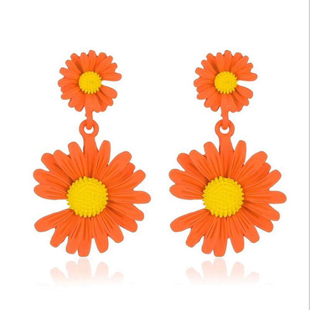 Elegant Daisy Earrings Cute Flower Earrings for Women Gift  02 orange