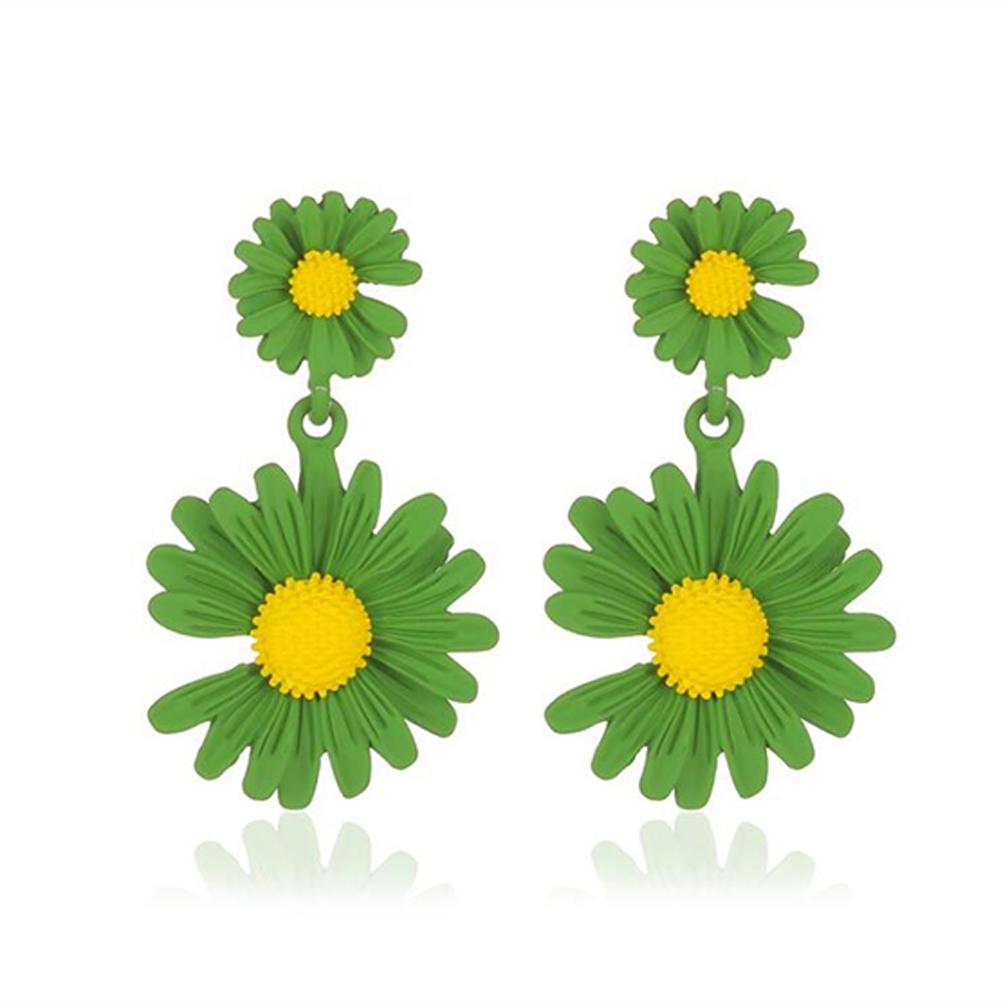 Elegant Daisy Earrings Cute Flower Earrings for Women Gift  04 green