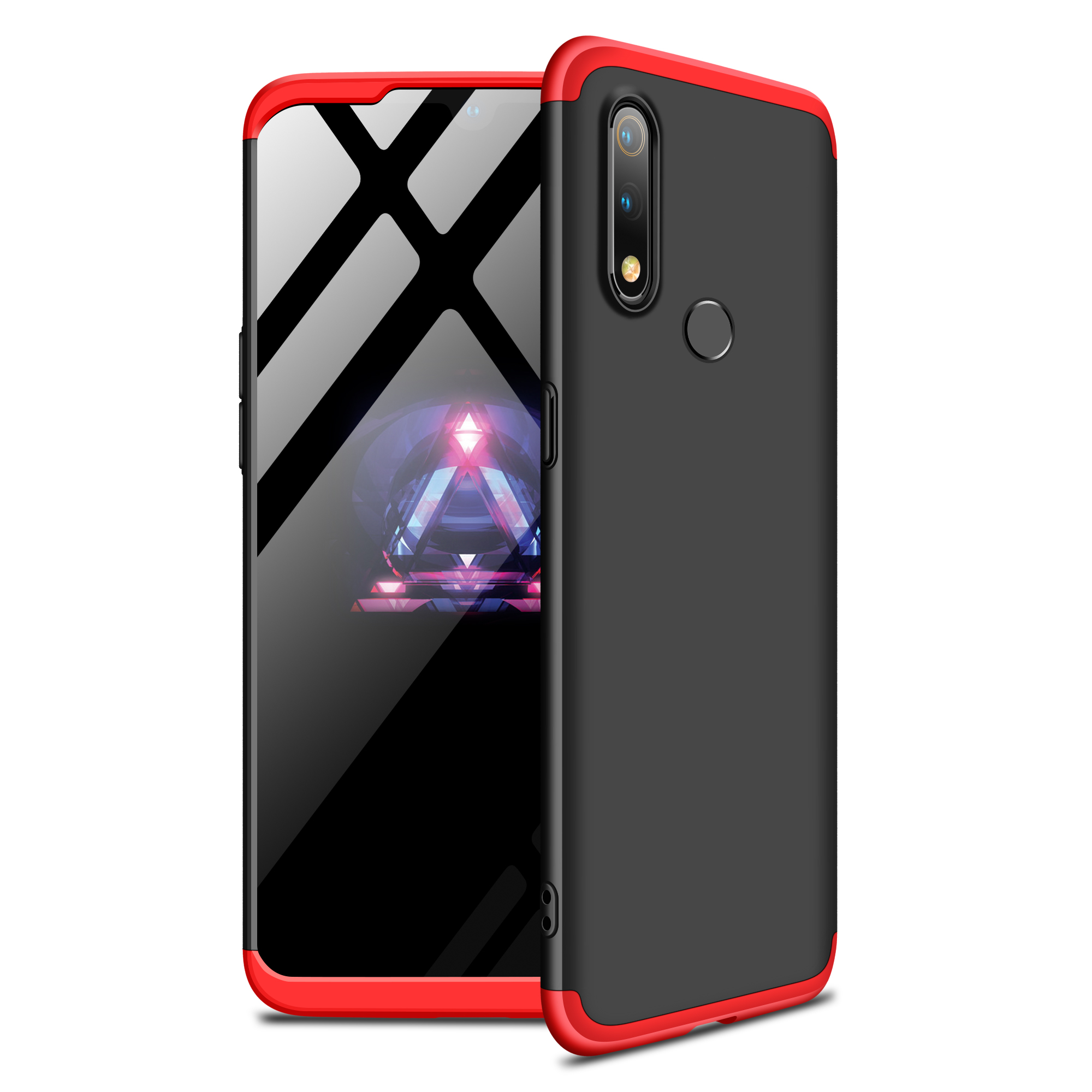 For Oppo Realme 3 pro Ultra Slim PC Back Cover Non-slip Shockproof 360 Degree Full Protective Case Red black red