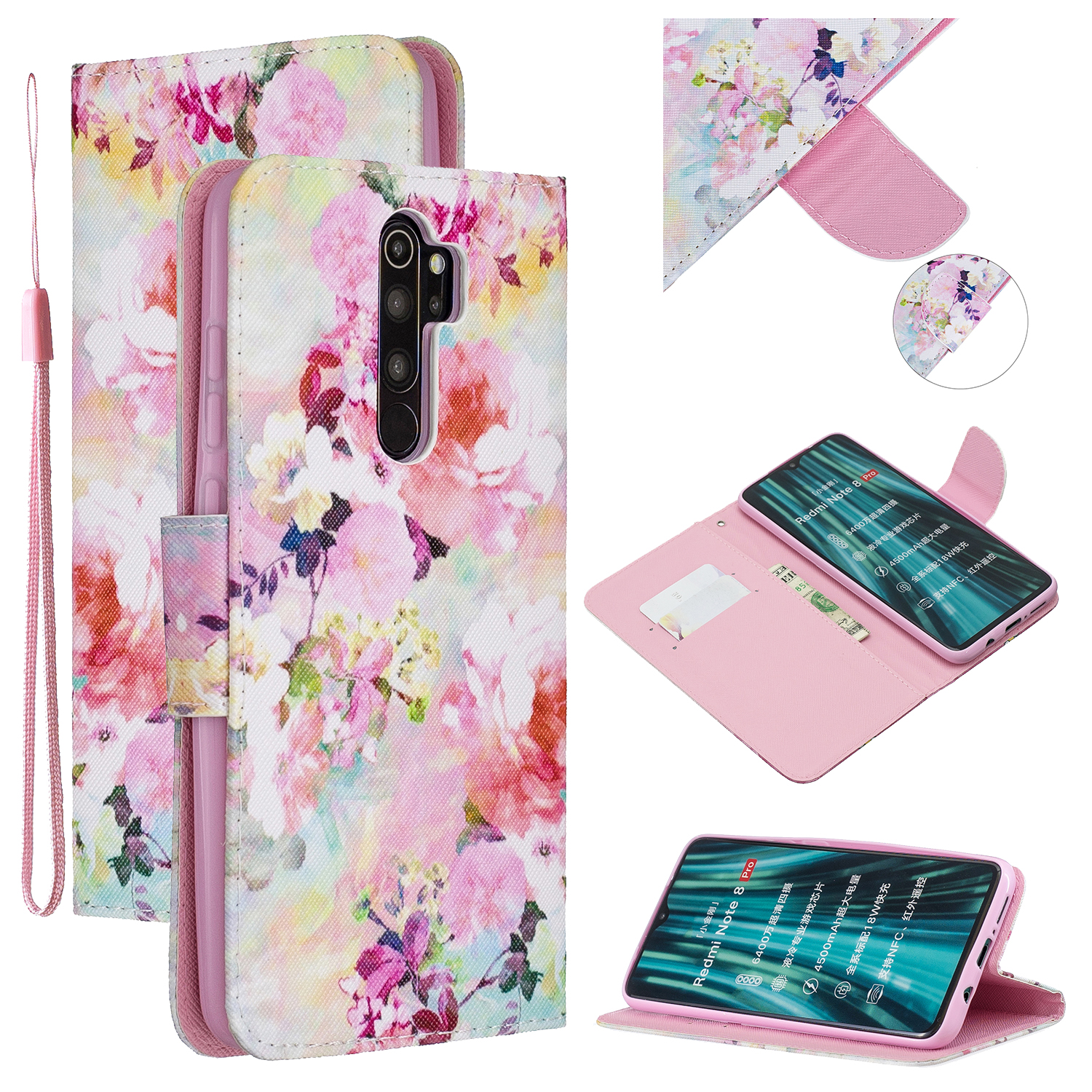 For Redmi Note 8/8 Pro Cellphone Cover Stand Function Wallet Design PU Leather Smartphone Shell Elegant Pattern Printed  Watercolor flower