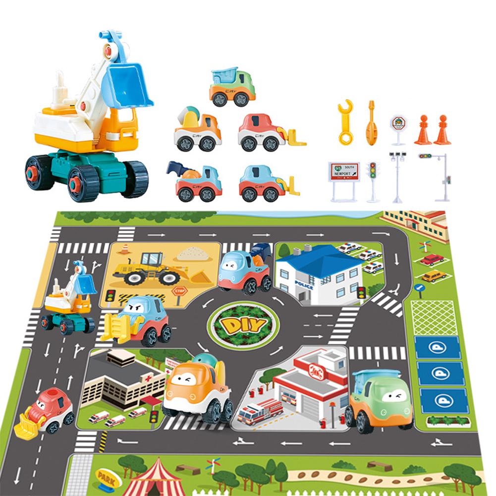 1 Set Urban  Traffic  Road  Scene  Map  Crawling  Mat Diy Disassembly Engineering Vehicle Toy Set For Kids City carpet