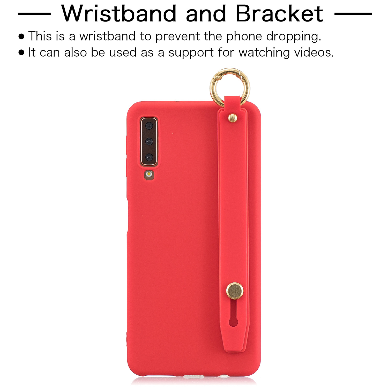 For Samsung A7 2018 Simple Solid Color Chic Wrist Rope Bracket Matte TPU Anti-scratch Non-slip Protective Cover Back Case 4 red
