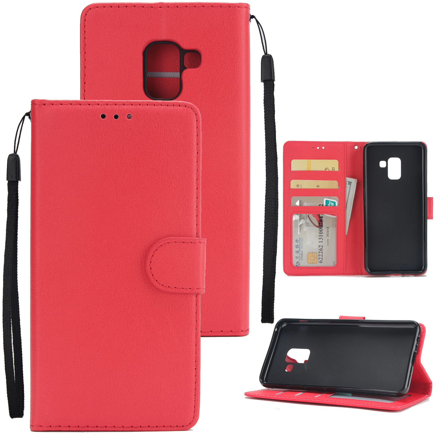 For Samsung J6 2018 PU Cell Phone Case Non-slip Shockproof Protective Case with Card Slot  red