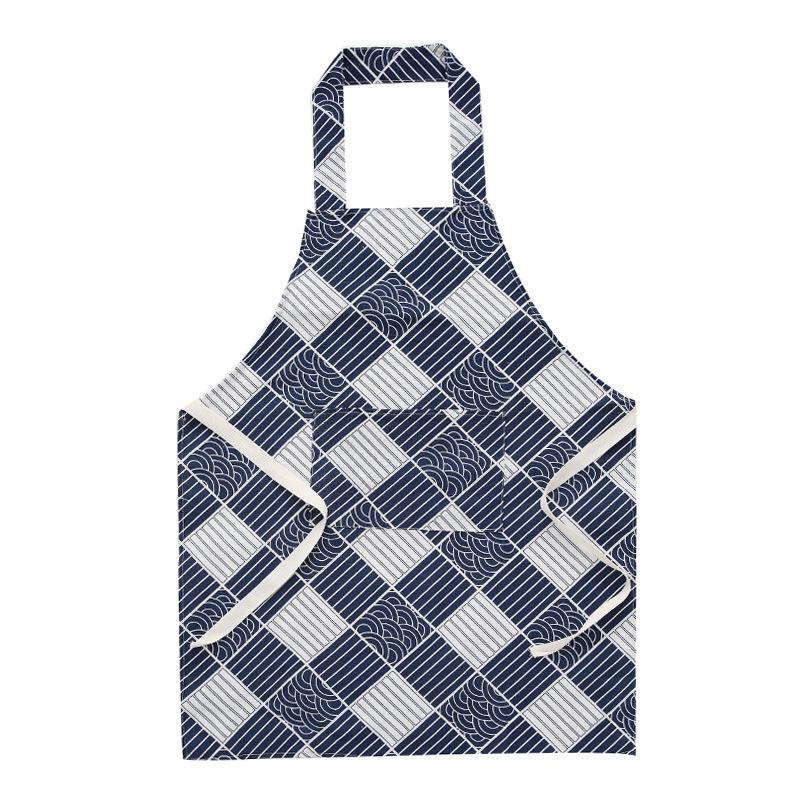 Women Kitchen Geometric Printing Cotton Linen Oil-proof Cooking Apron Large plaid